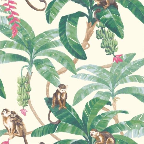 DUTCH WALLCOVERINGS Tapet Monkey Puzzle vit Flerfärgsdesign