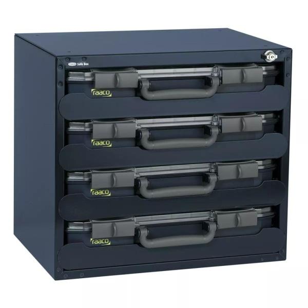 Raaco Säkerhetsbox med 4 x CarryLite 55 sortimentlådor 136372 Blå