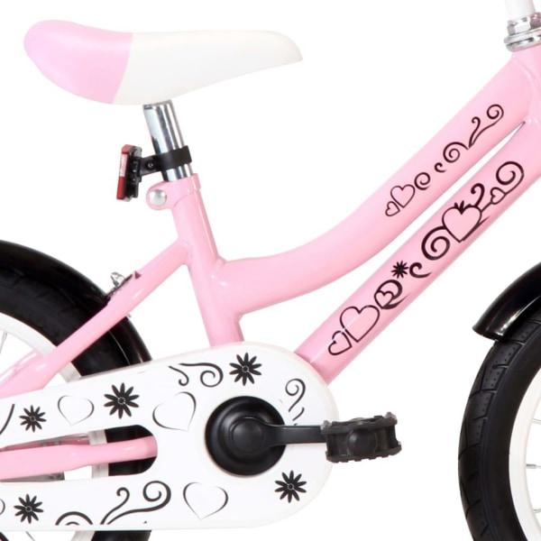 vidaXL Barncykel med frampakethållare 14 tum vit och rosa Rosa