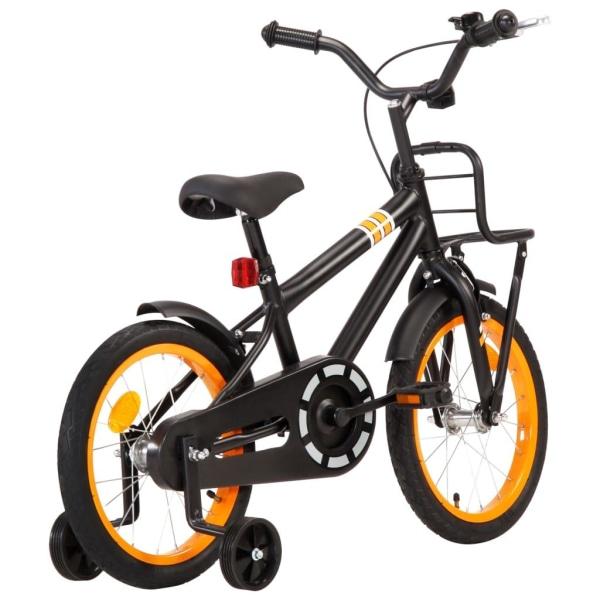 vidaXL Barncykel med frampakethållare 16 tum svart och orange Orange