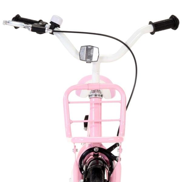 vidaXL Barncykel med frampakethållare 16 tum vit och rosa Rosa