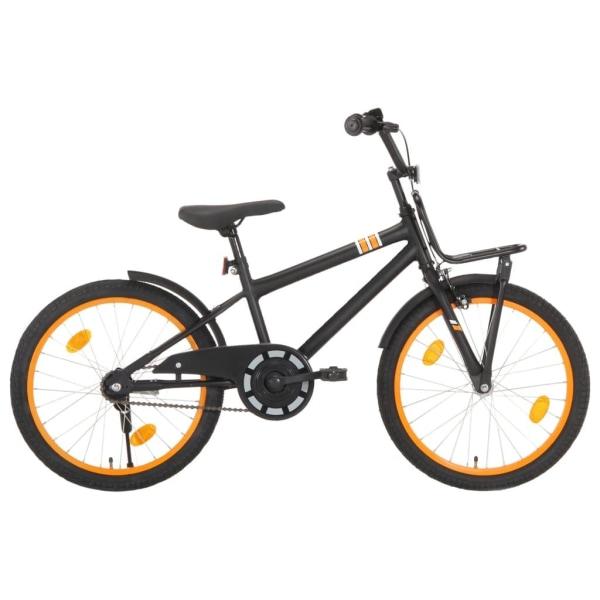 vidaXL Barncykel med frampakethållare 20 tum svart och orange Orange