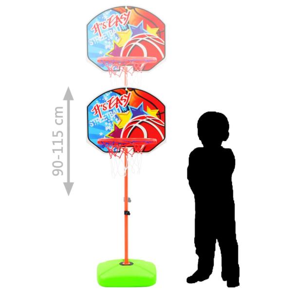 vidaXL Basketkorg med boll för barn Flerfärgsdesign