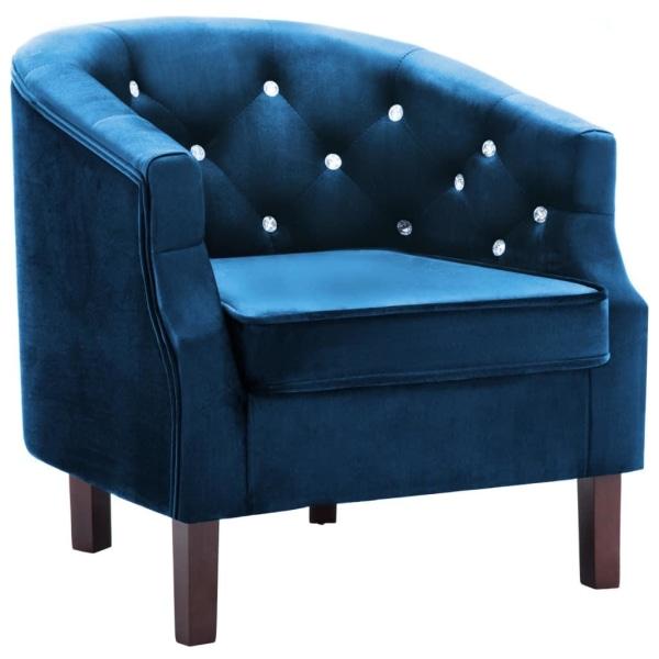 vidaXL Fåtölj blå sammet Blå