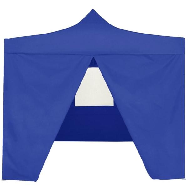 vidaXL Hopfällbart partytält med 4 sidoväggar 2x2 m stål blå Blå