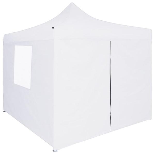 vidaXL Hopfällbart partytält med 4 sidoväggar 3x3 m stål vit Vit