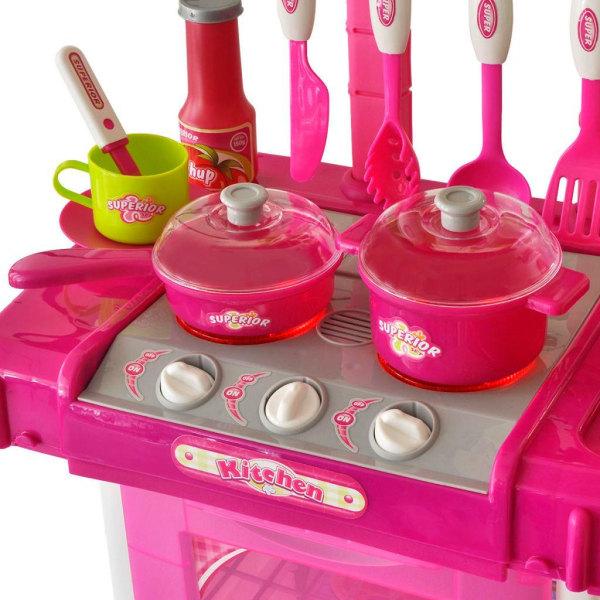 vidaXL Leksakskök för barn med ljus- och ljudeffekter rosa Rosa