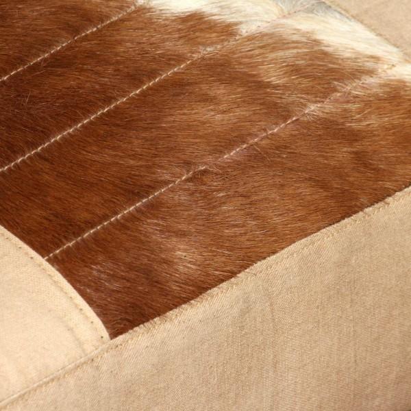 vidaXL Loungefåtölj gräddvit äkta getskinn och kanvas Kräm