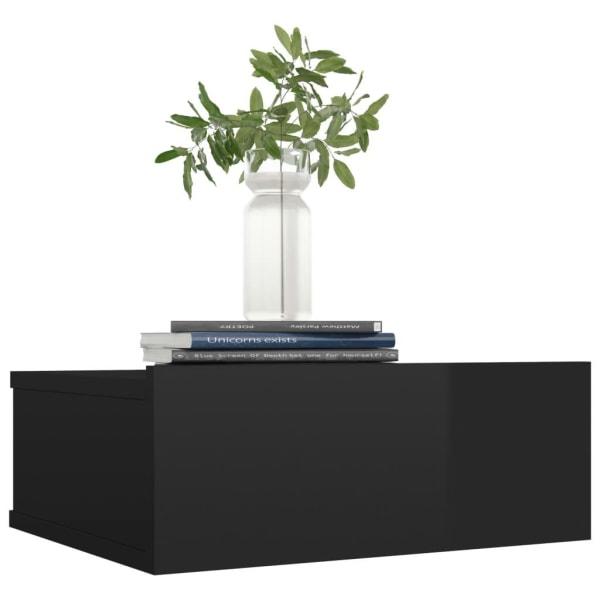 vidaXL Svävande sängbord svart högglans 40x30x15 cm spånskiva Svart