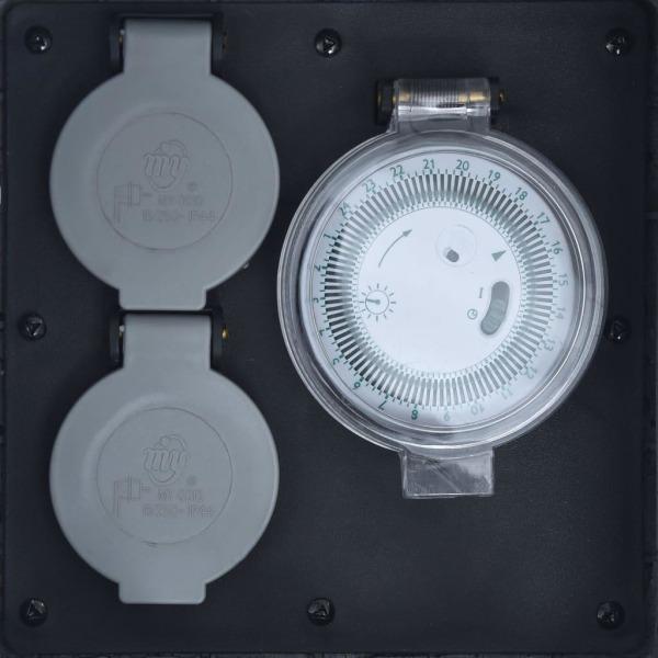 vidaXL Trädgårdsuttag 2 uttag timer polyresin grå