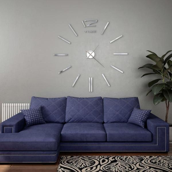 vidaXL Väggklocka 3D modern design 100 cm XXL silver Silver