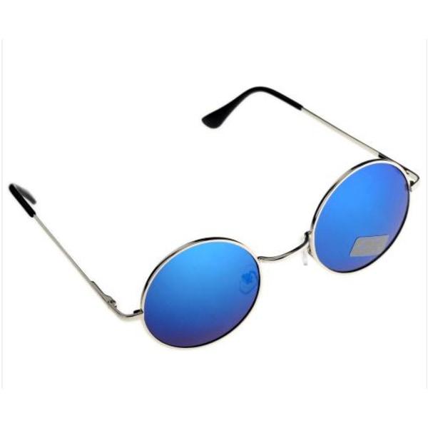 Solglasögon round metal rund pilot  (Silver båge Blå spegel)