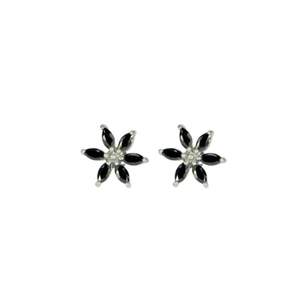 Örhängen - svart blomma - Trej