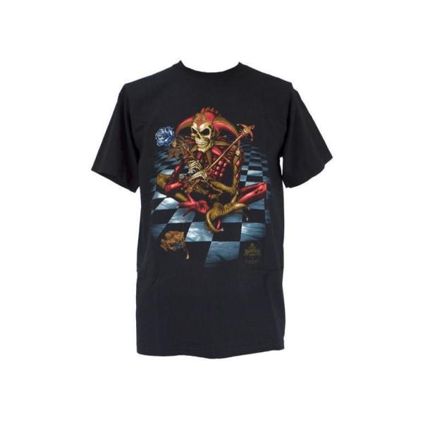 Svart t-shirt med tryck av ett skelett i narr dräkt