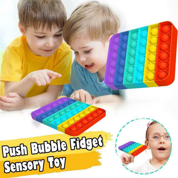 Pop it Fidget Sensorisk leksak med bubblor - Rainbow- Square flerfärgad