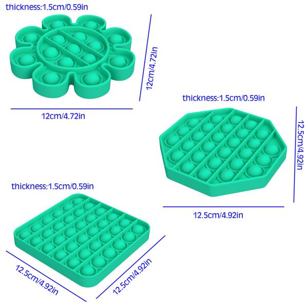 Pop it Fidget Toy Bubble Sensory Fidget Toy Green Square grön