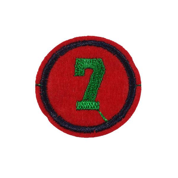 2st Tygmärken - Siffra 7 - Storlek 3,8cm röd 38 mm