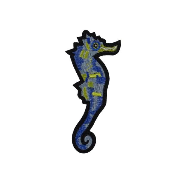 6st Tygmärken - Sjöhäst - Storlek 13,6cm blå 136 mm