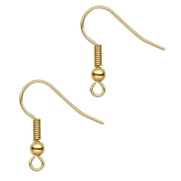 Öronkrokar av guldpläterat kirurgiskt stål, 2cm, 2 par