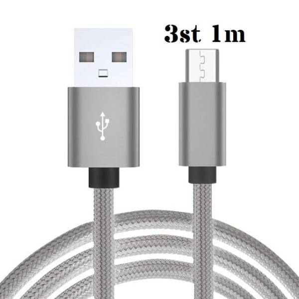 3-Pack USB-C Snabbladdare Grå 1 meter