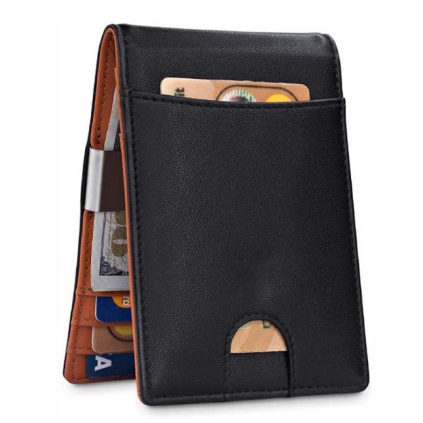 Äkta Läder - Plånbok med RFID  - Svart med Orange