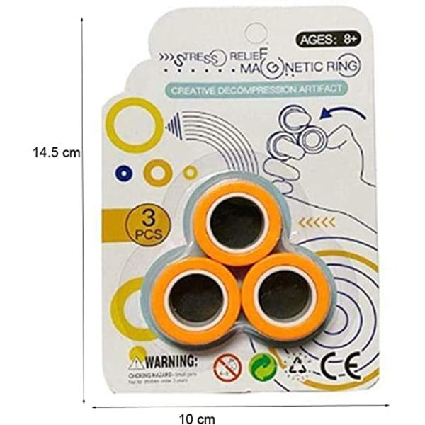 Populära Magnetiska magiska ringar - anti stress - Orange orange