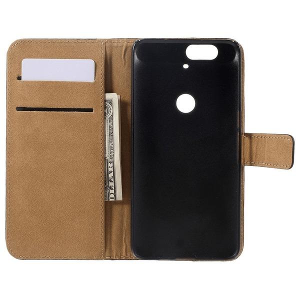 OnePlus 2 Läder Plånboksfodral Svart Transparent