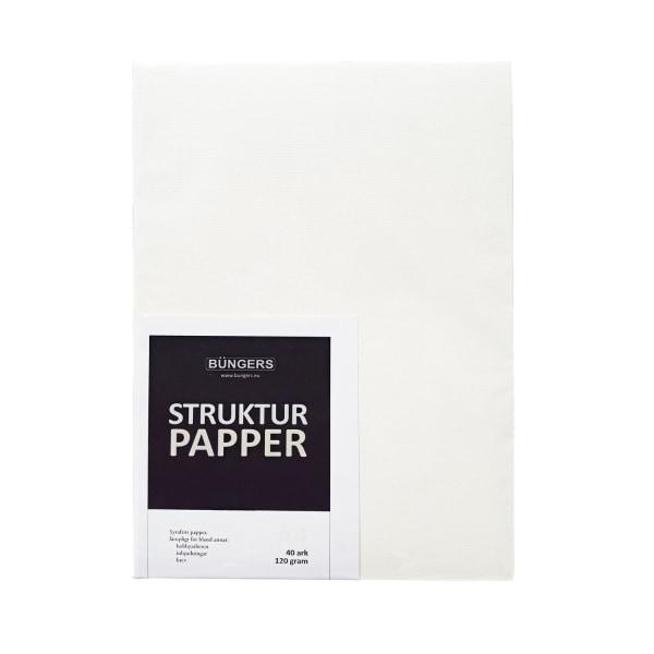 Linnepapper (Strukturpapper) A4 Vitt 120 gram, syrafritt, 40 ark Vit