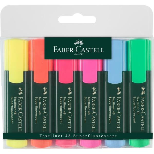 Överstrykningspenna Faber-Castell Textliner 48, 6 färger/fp multifärg