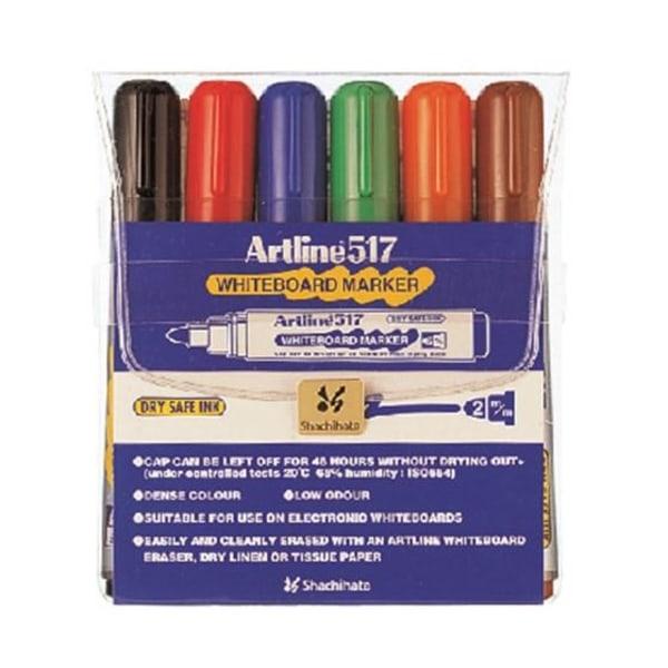 Whiteboardpennor Artline EK-517 Rund spets, 6 färger/fp multifärg