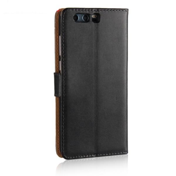 Plånbokfodral Huawei Honor 9, Äkta skinn, Svart Svart
