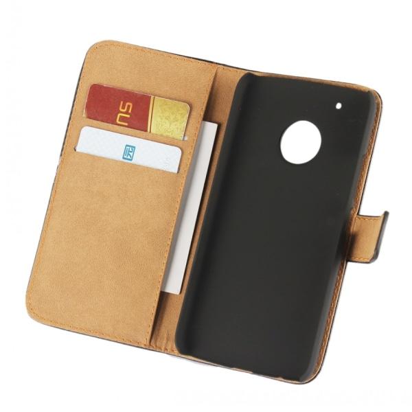 Plånbokfodral Motorola Moto G5 Plus, Äkta skinn, Svart Svart