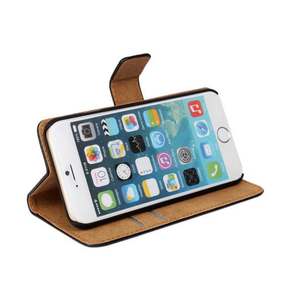 Plånboksfodral iPhone 6 / 6s, äkta skinn Svart one size