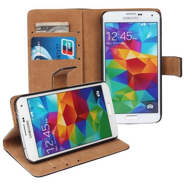 Plånboksfodral Samsung S5/S5 Neo äkta skinn Svart
