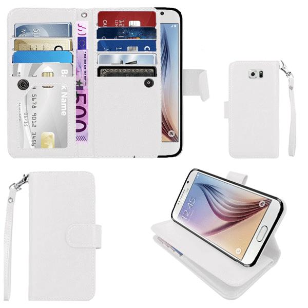 Plånboksfodral Samsung S6 Edge PLUS, 9 kortplatser och ID Vit