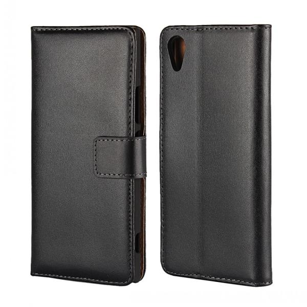 Plånboksfodral Sony Xperia XA2, Äkta skinn, Svart  Svart