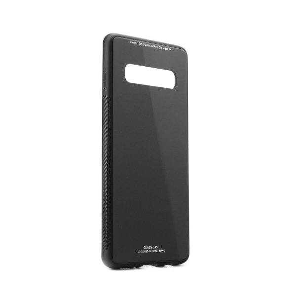 Skal Samsung S10 i gummi / glasbaksida,  Svart