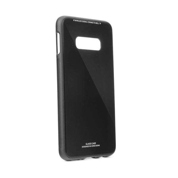 Skal Samsung S10e i gummi / glasbaksida,  Svart