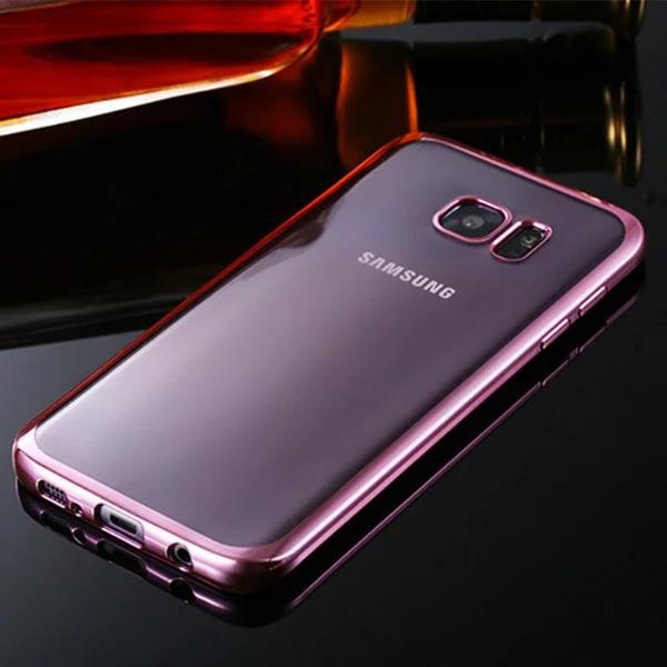 Genomskinlig Silikon Skal för Galaxy S7 Edge Metallic Rosa