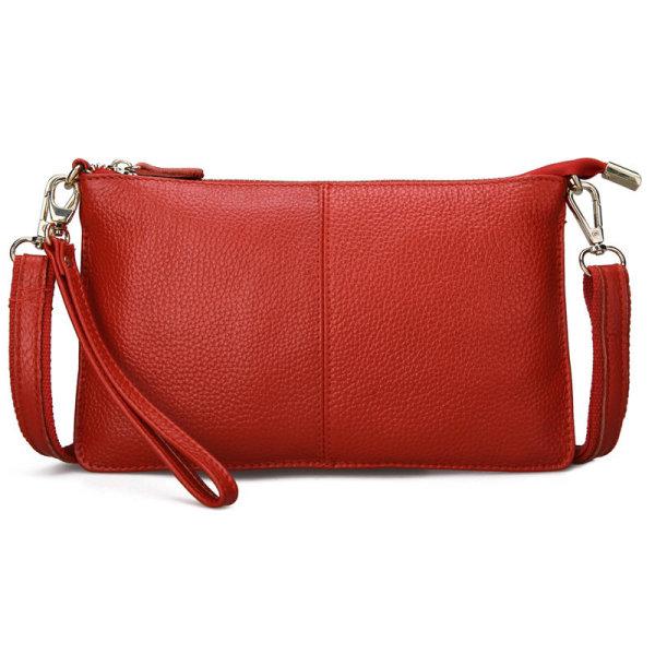 Leather Wristlet Crossbody Purse Röd