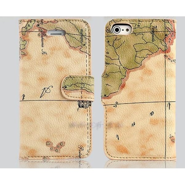 Plånboksfodral/ställ till iPhone 6 Map Ljusbrun