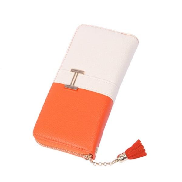 Tvåfärgad plånbok i PU läder - 6 färger Orange