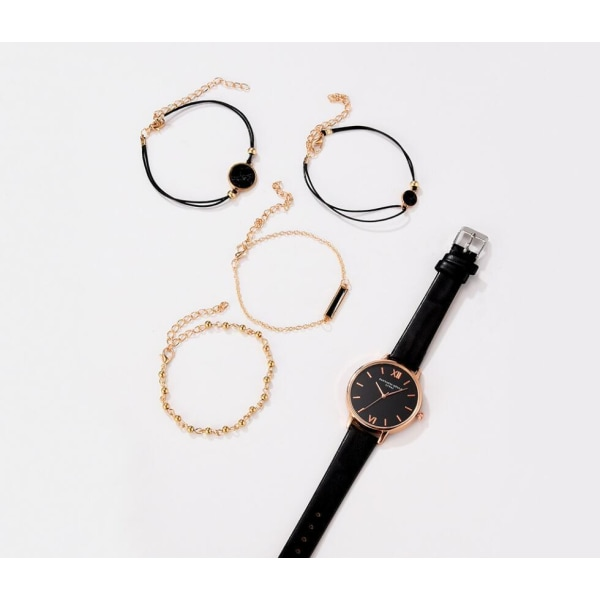 Watch With Bracelets Svart