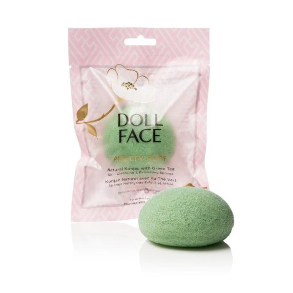 Doll Face Pretty Puff Green Tea Konjac Cleansing Sponge Transparent