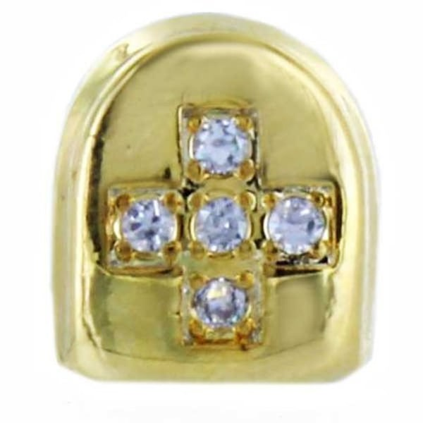 Gold tooth cap XL Diamond Cross Guld