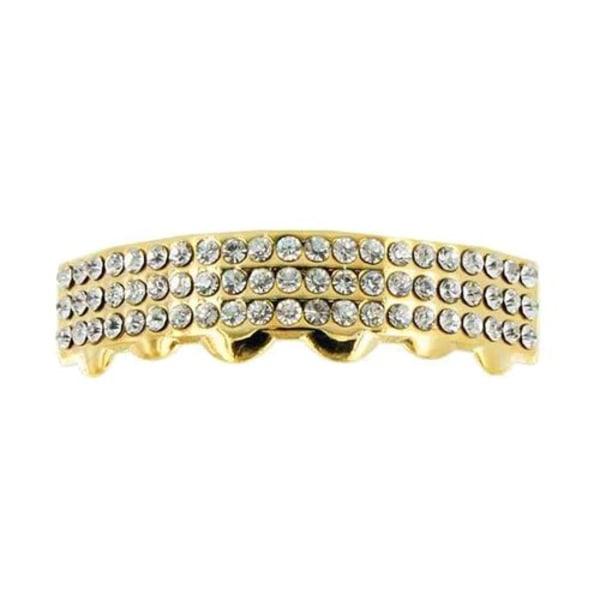 Grillz,  Gold 3row diamonds BOTTOM Guld