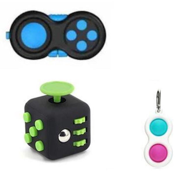 PRO set - 3 pack Fidget Toys Set för barn och vuxna NYHET multifärg one size