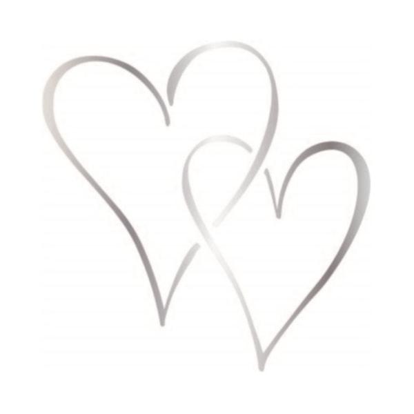 3-pack Dekorationshjärta Silver 15x15 cm Hjärta Väggdekor