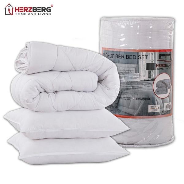Herzberg HG-24267DP: Sängset med vitt mikrofiber  - 240x200cm