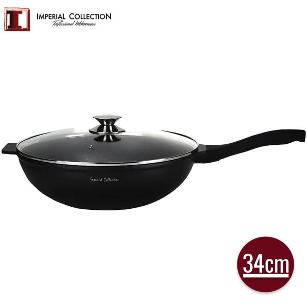 Marmorbelagd wok med lock och avtagbart handtag, 34cm